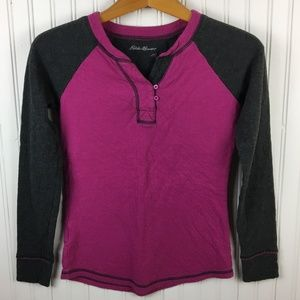Eddie Bauer Long Sleeved Cotton Top Two Tone